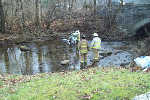 Broomall Fire Department at work in Darby Creek