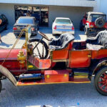 Antique car being towed